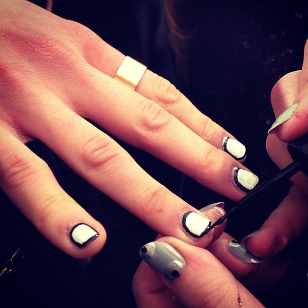 """The """"picture frame"""" nails were a little mod at Charlotte Ronson."""
