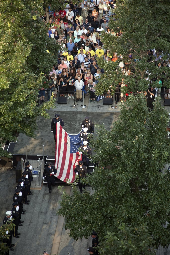 Visitors gathered at the 9/11 Memorial for the opening ceremonies of the 12th anniversary commemoration in NYC.