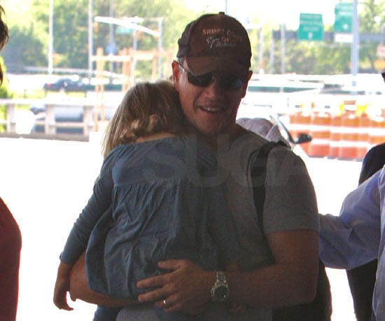 Slide Photo of Matt Damon and Isabella Damon at LaGuardia