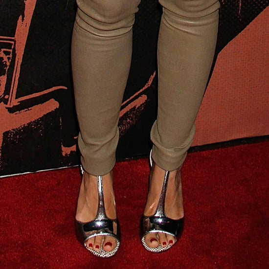 Kristen Bell Wearing Silver Metallic Sandals