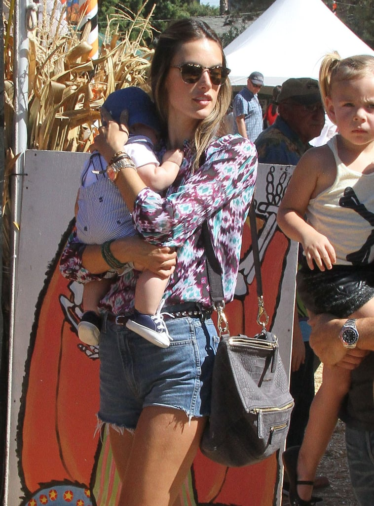 Alessandra Ambrosio wore cutoff shorts to the pumpkin patch.