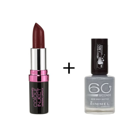 Vampy lips paired with grey nails makes for a really edgy combination. Perfect for the girl who loves to wear black. Australis Colour Inject Mineral Lipstick in Can Can ($12.95), Rimmel London 60 Seconds Nail Colour in Greymatter ($6.36)