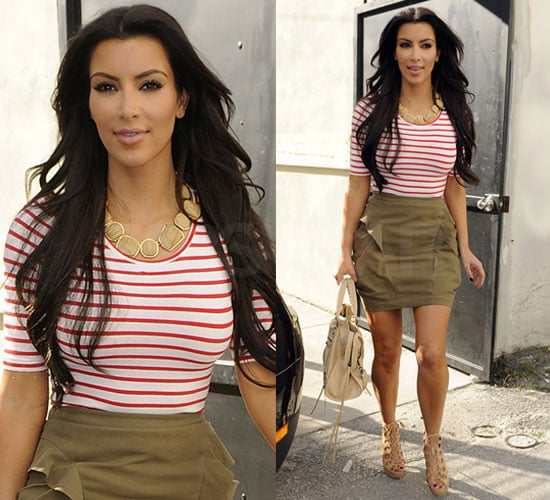 Kim Kardashian in Striped Shirt in Miami