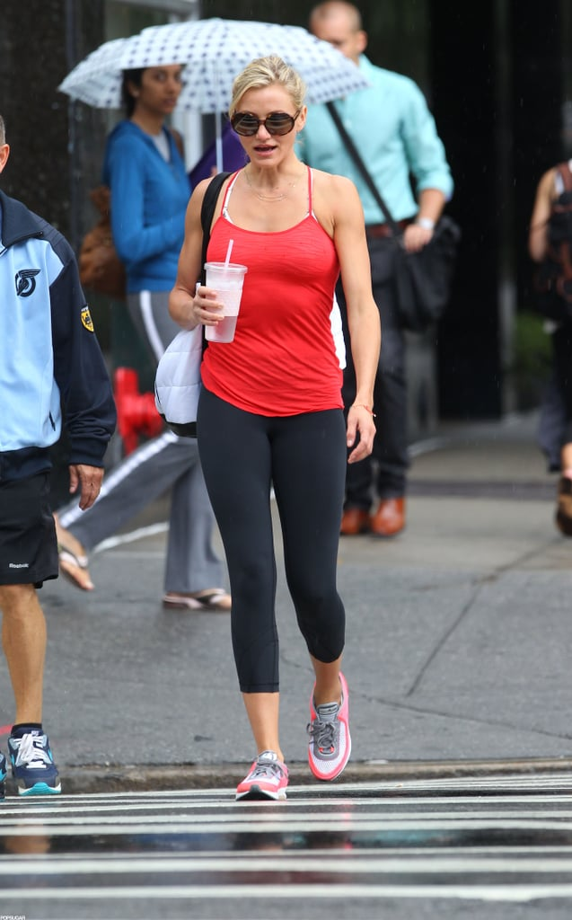 Cameron Diaz looked fit in black workout pants.
