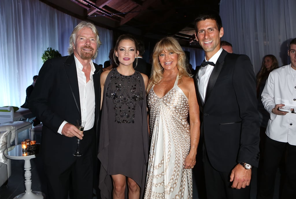 Kate Hudson posed with Richard Branson, Goldie Hawn, and Novak Djokovic at the charity gala.