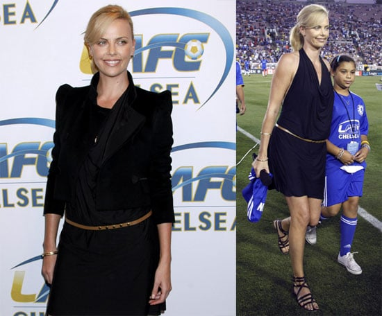 Photos of Charlize Theron and Ashton Kutcher Watching Chelsea and Inter Milan Play in Pasadena, CA