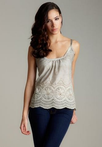 In a neutral gray hue, this scoopneck eyelet cami makes the perfect airy Summer basic.  Buffalo Florah Eyelet Cami ($25)