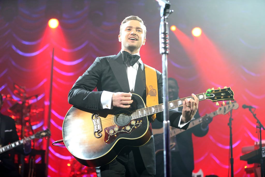 Justin Timberlake took time to smile during his Saturday night live performance in New Orleans for Super Bowl weekend.