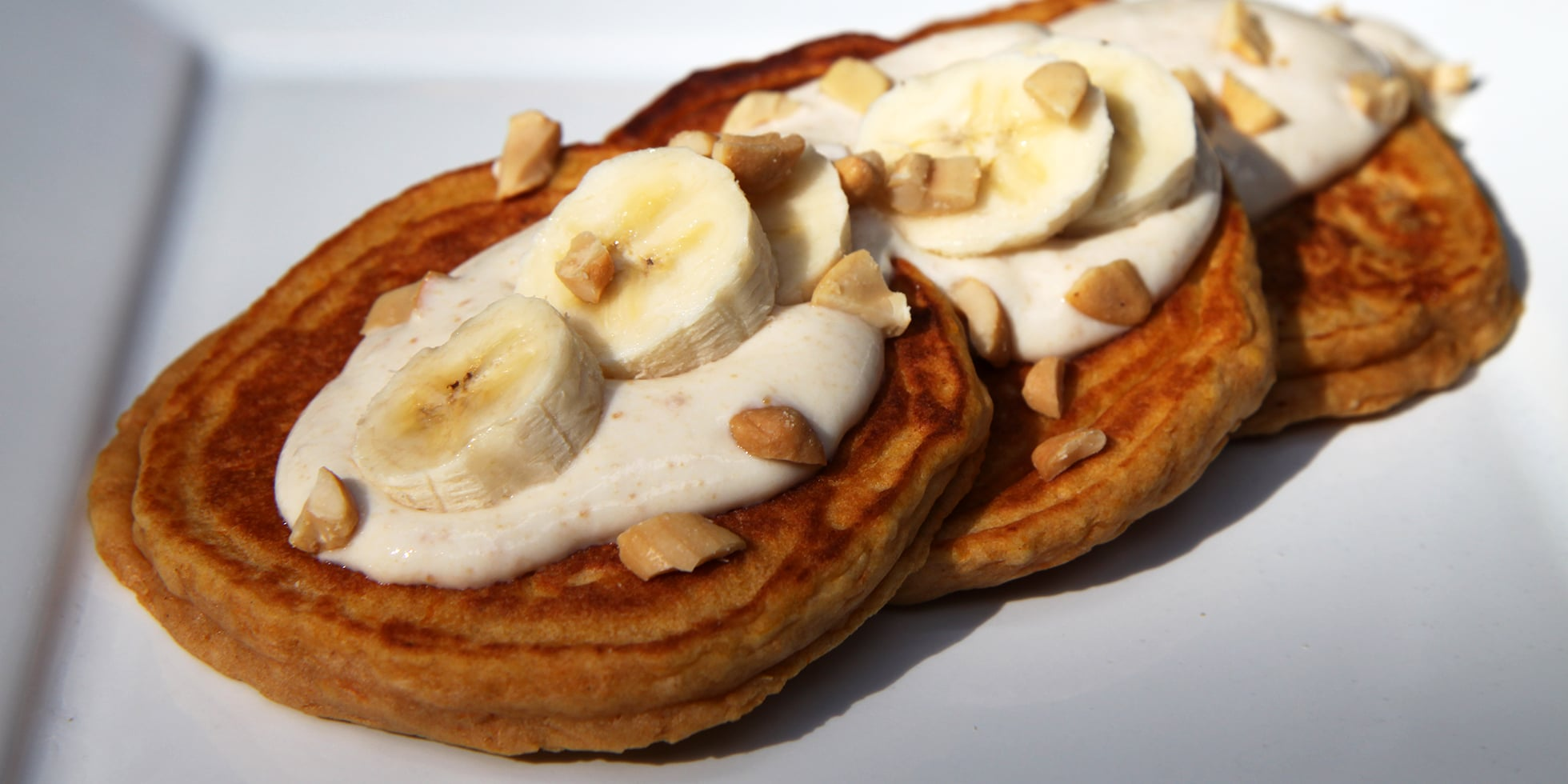 Banana Sweet Potato Pancakes With Honey Nut Yogurt