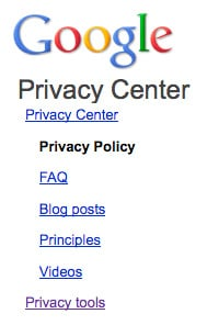 Google's Privacy Policies