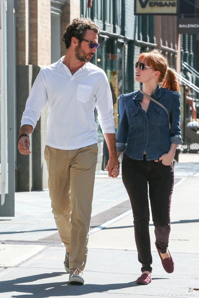 Jessica Chastain and Gian Luca Passi de Preposulo went for a stroll in NYC on Monday.