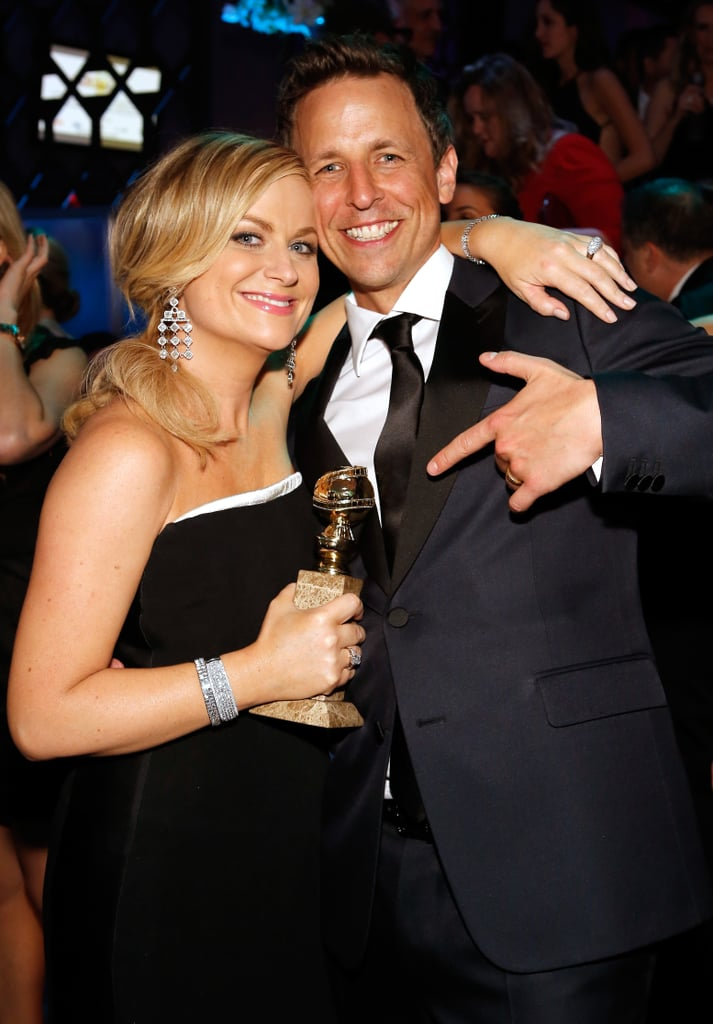 Amy Poehler celebrated with Seth Meyers after the show.