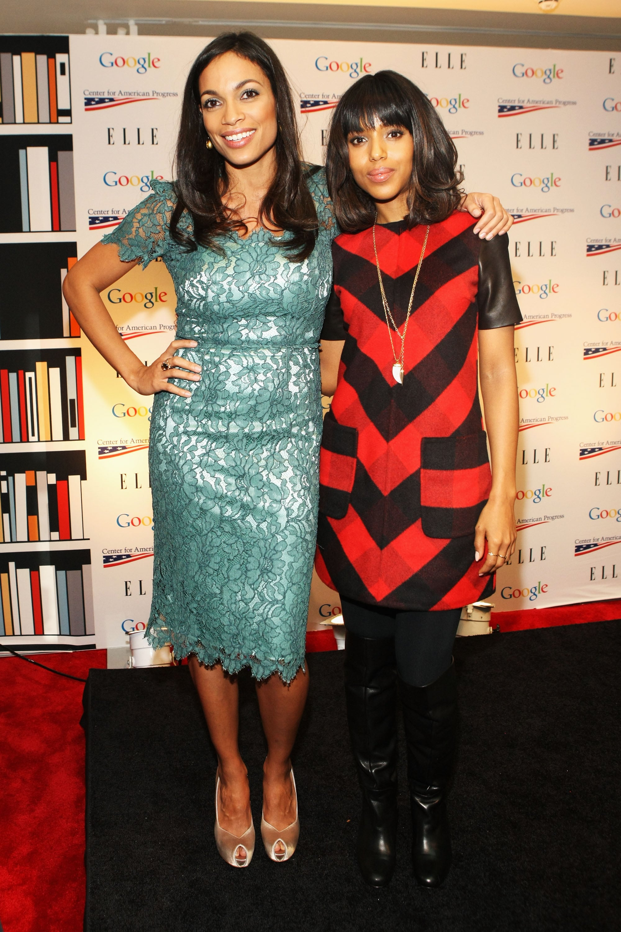 Stylish stars Rosario Dawson and Kerry Washington posed for pictures at an inaugural event Sunday.