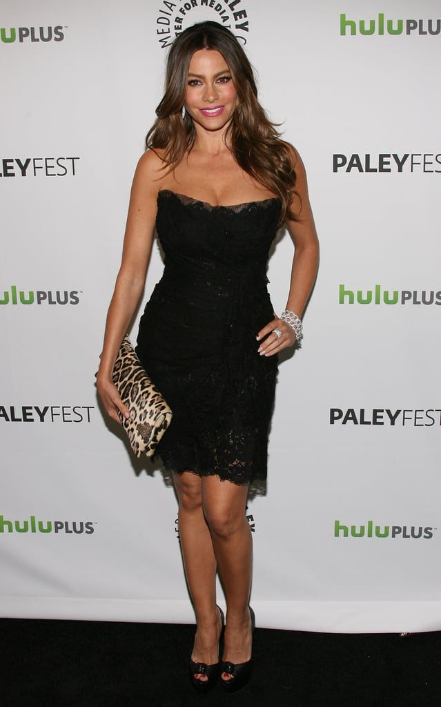 The actress injected a pop of print to her tulle and lace Dolce & Gabbana minidress with a leopard envelope clutch at the 2012 PaleyFest.