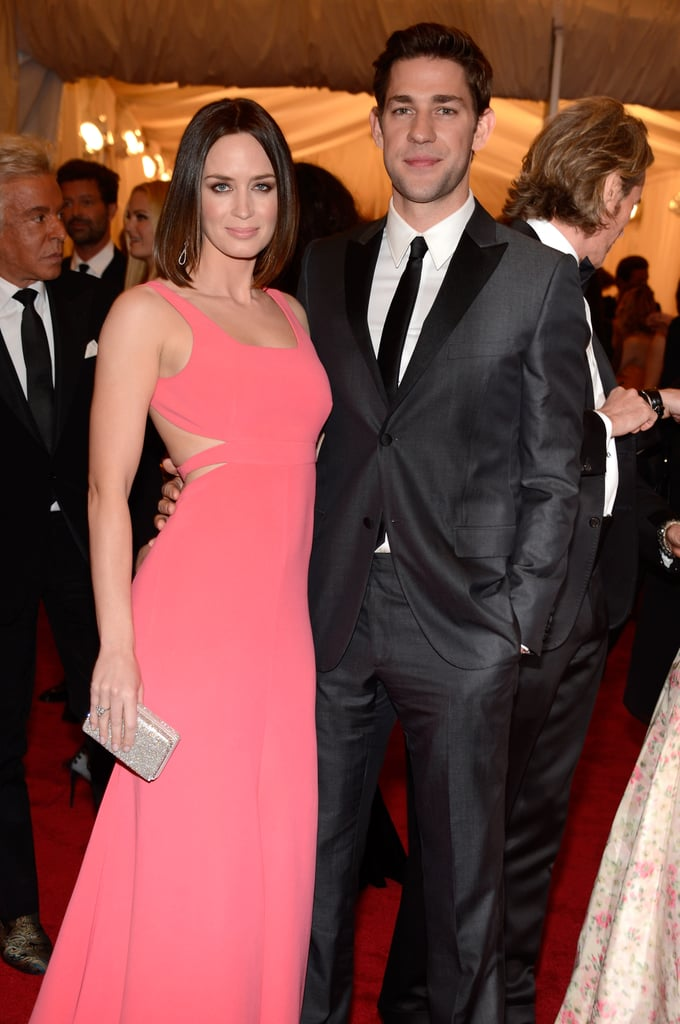 John Krasinski and Emily Blunt posed together on the red carpet.