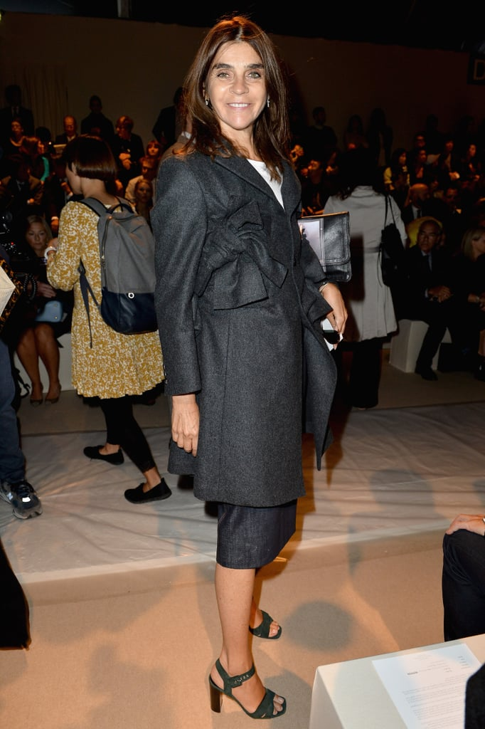 Carine Roitfeld hit the Max Mara front row in layered gray pieces.