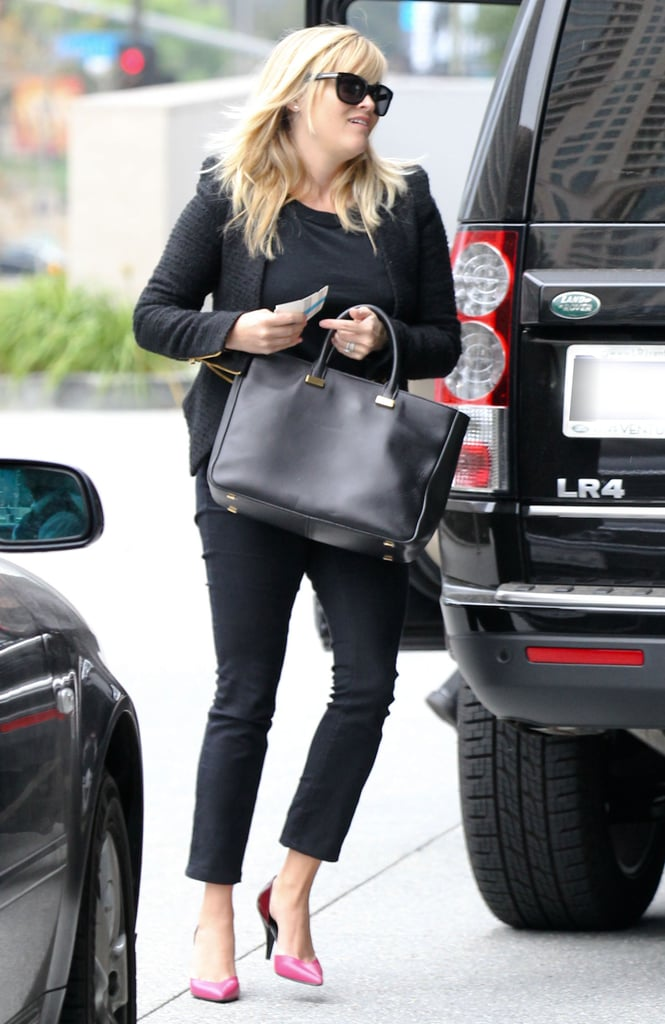 Reese Witherspoon Wears Pink Heels For a Work Day