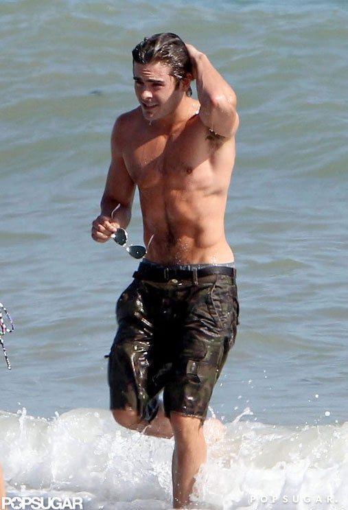 Zac took a shirtless dip during a July 2011 day in Malibu.