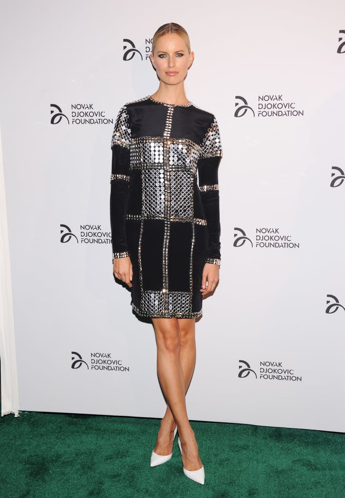 Karolina Kurkova flaunted her famous gams while stepping out for a good cause at The Novak Djokovic Foundation event.