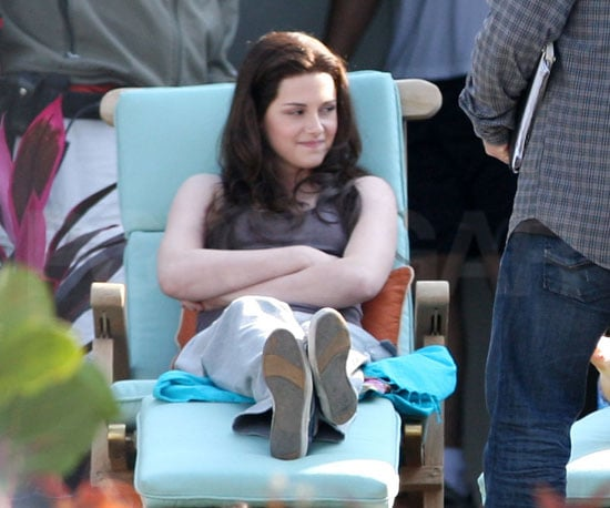 Slide Photo of Kristen Stewart Filming Eclipse in Vancouver with Long Hair