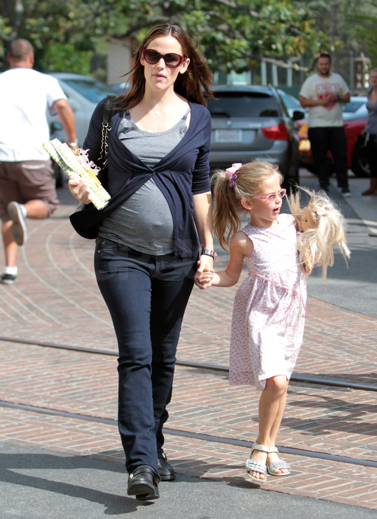 Violet carried her doll.