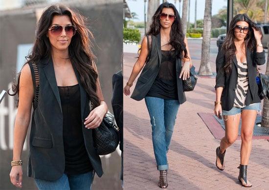 Photos of Kim and Kourtney Kardashian Together Wearing Denim and Black in Miami