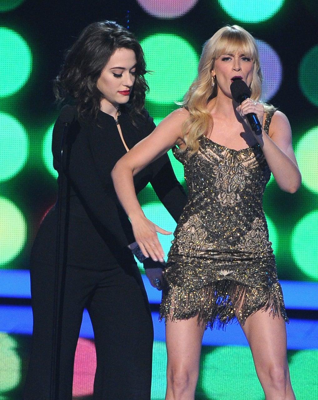 Kat helped adjust Beth's dress.