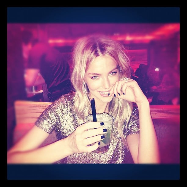Jennifer Hawkins was glowing as she relaxed with a drink in Melbourne. Source: Instagram user jenhawkins_
