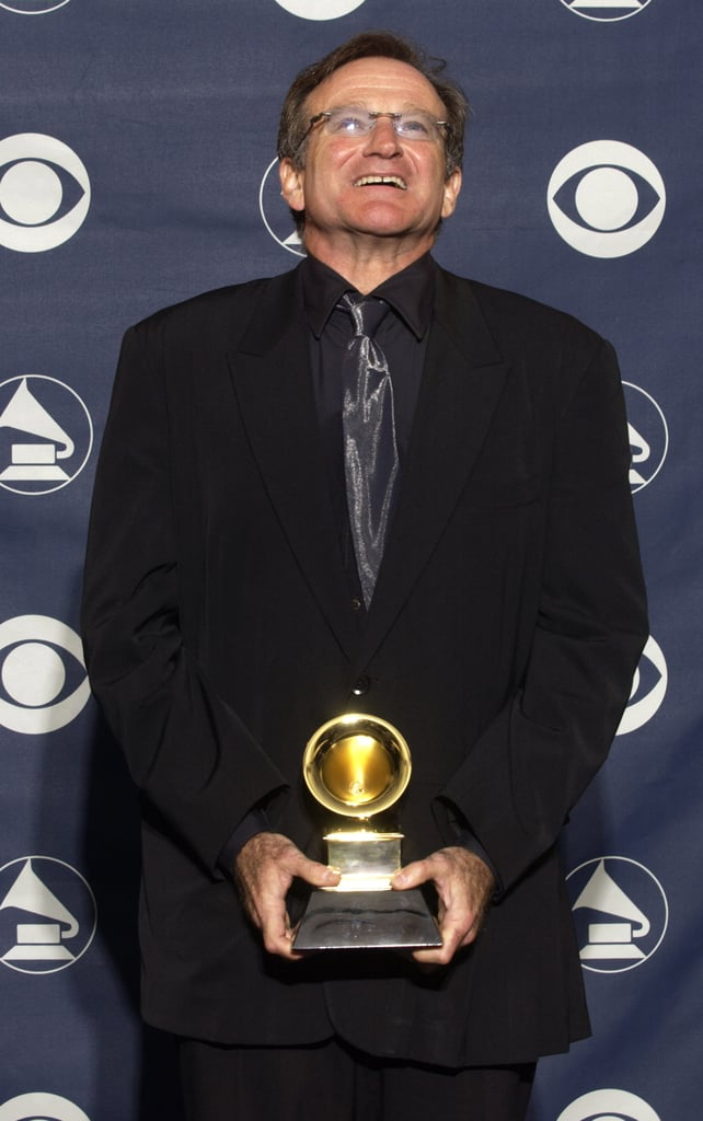 Robin celebrated in the Grammys press room after taking home the award for best spoken comedy album in February 2003.