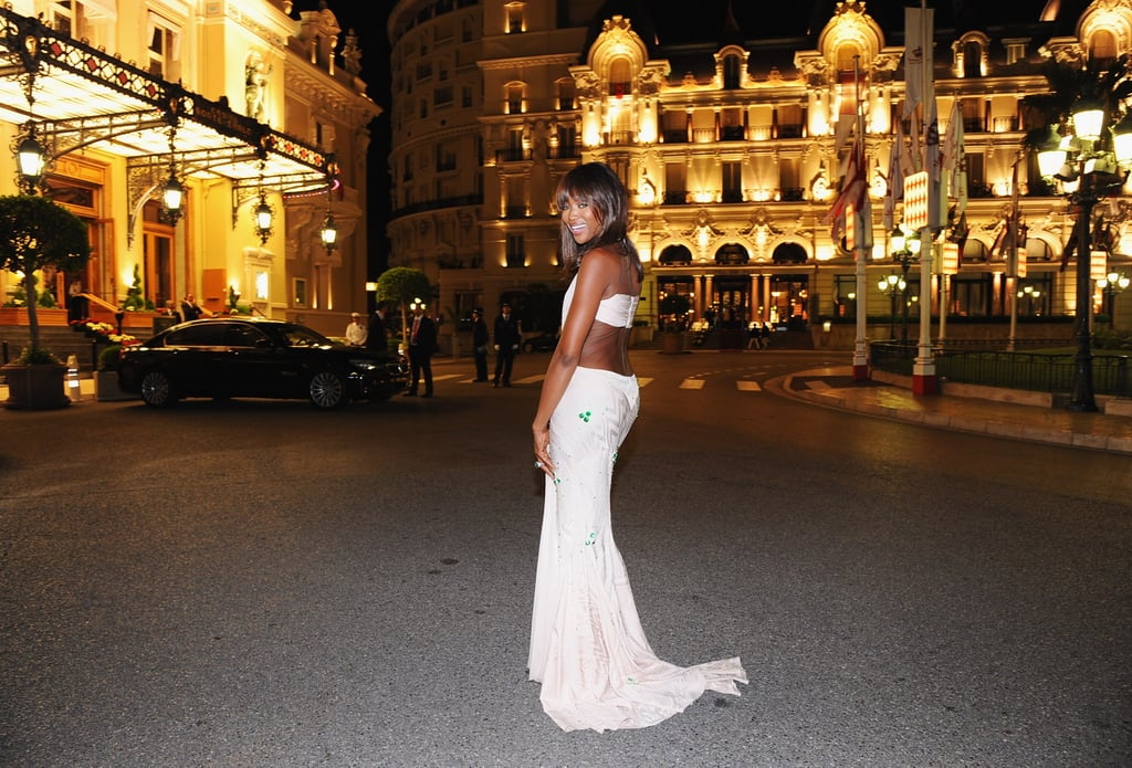 Naomi Campbell attended a dinner at Opera terraces after the religious wedding ceremony of Prince Albert II of Monaco and Princess Charlene of Monaco.