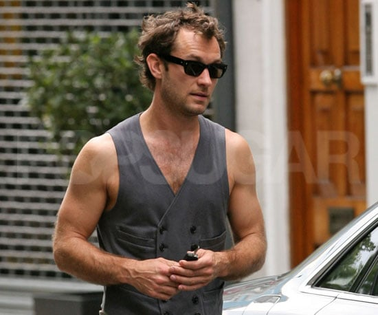 Photo Slide of Jude Law in London Wearing Just a Vest