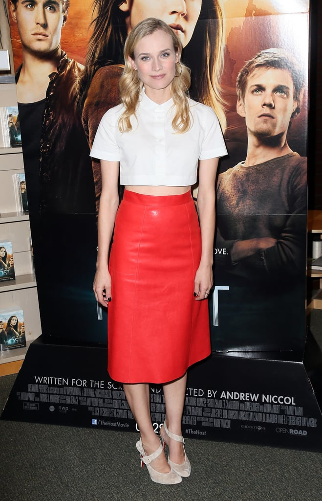 For the Host book signing in LA, Diane Kruger colorblocked in a cropped white Carven top, red leather skirt by Vanessa Bruno, and nude Christian Louboutin pumps. Just a sliver of her midriff lent a subtly sexy vibe.