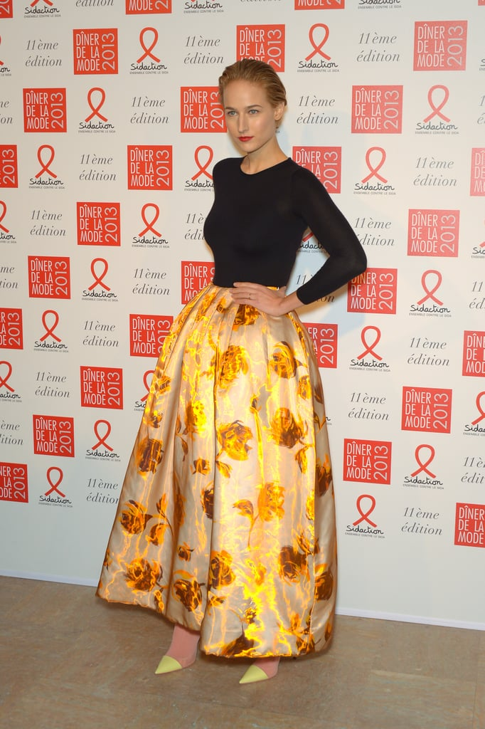 Leelee Sobieski could have just walked off the Christian Dior Spring '13 runway, as in she actually made us think for a moment that she was one of Raf Simons's models. We can't get enough of that iridescent floral ball skirt — it positively glows!