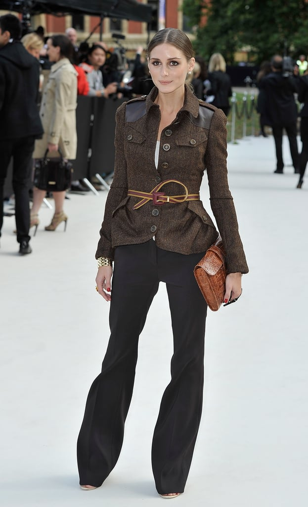Olivia Palermo embraced the military trend for Burberry's Spring show.