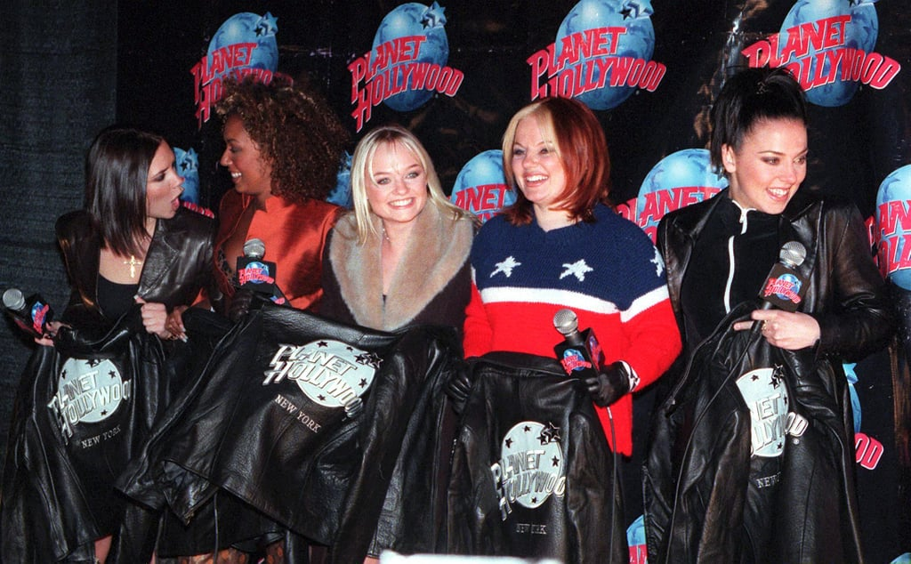 The Spice Girls posed with their Planet Hollywood jackets at the restaurant's NYC location in January 1998.