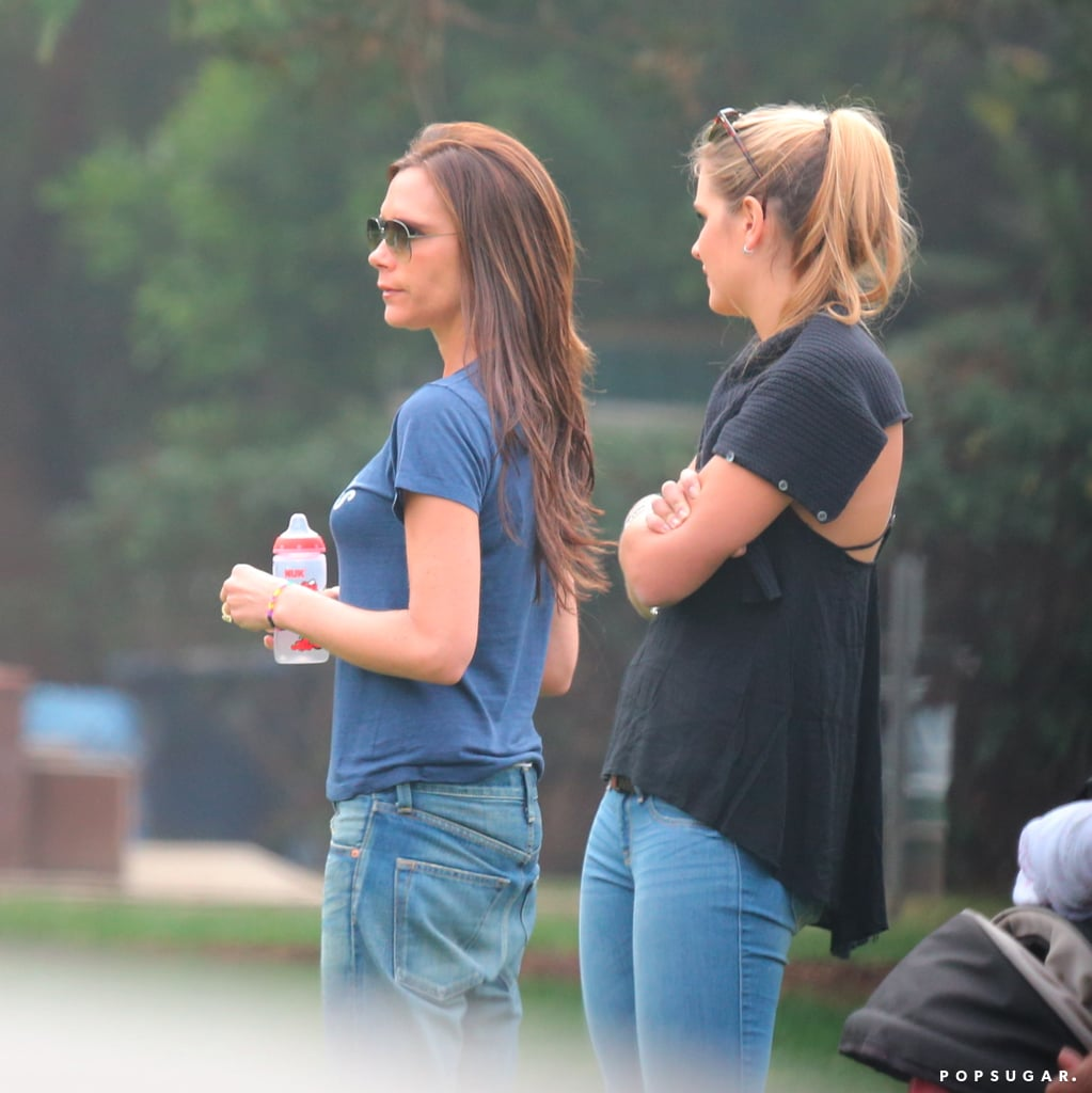 Victoria Beckham joined her husband, David Beckham, and their sons to watch her daughter, Harper, play soccer.