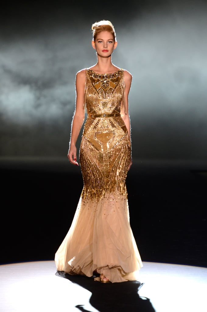 This gilded chiffon Badgley Mischka gown is a surefire red carpet hit.