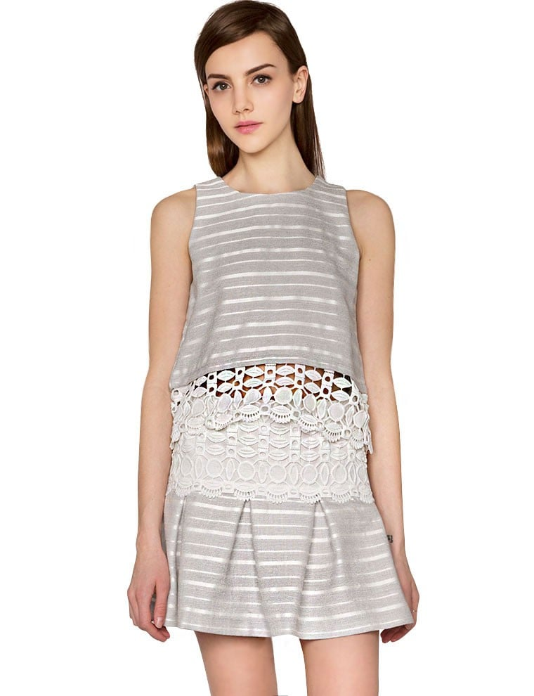 Pixie Market Striped Lace Matching Separates
