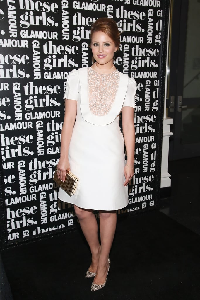 """Dianna Agron worked a retro-inspired white dress with snakeskin pumps and a gold box clutch at Glamour's """"These Girls"""" event in NYC."""