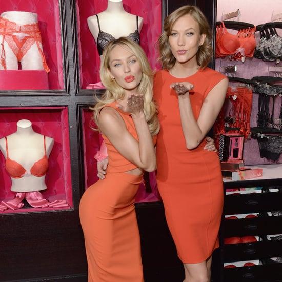 Karlie Kloss Candice Swanepoel in Orange Dress