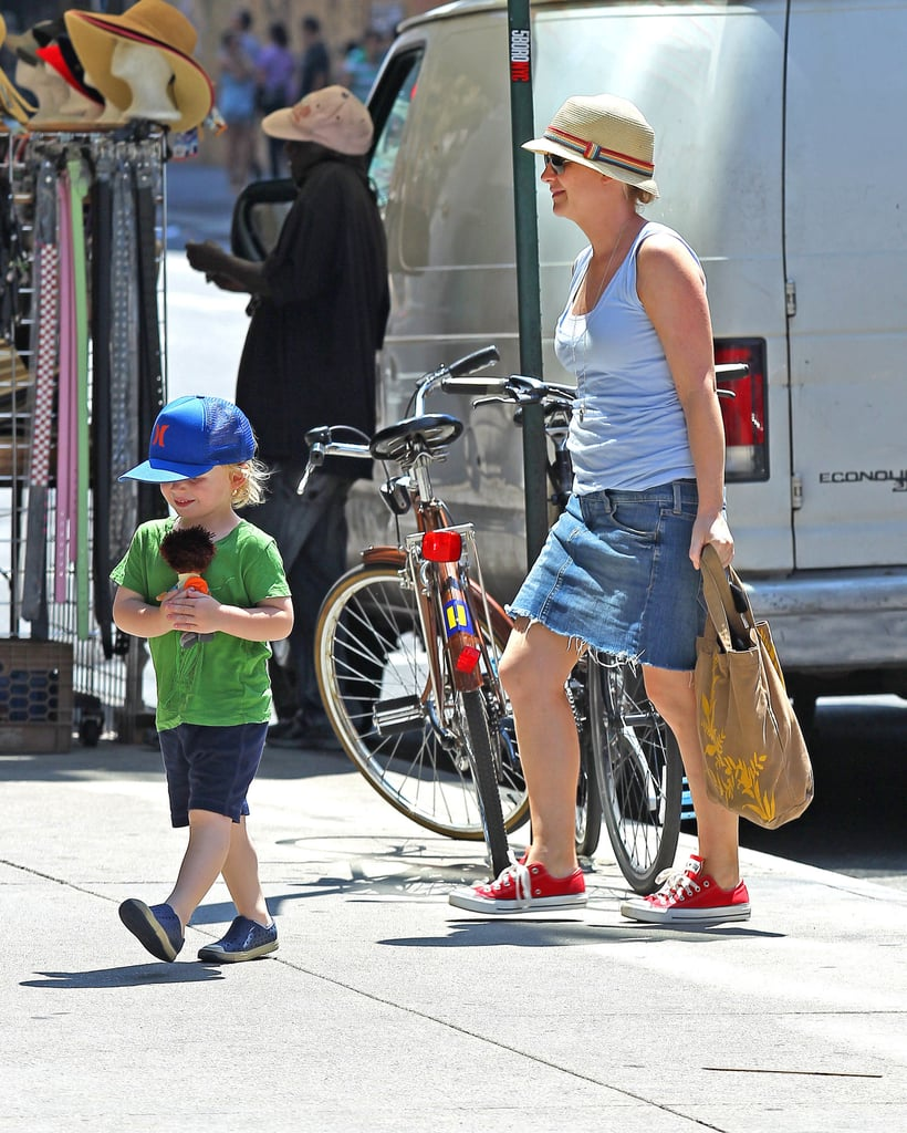 Amy Poehler and her oldest son, Archie, celebrated America's birthday with a movie in NYC.