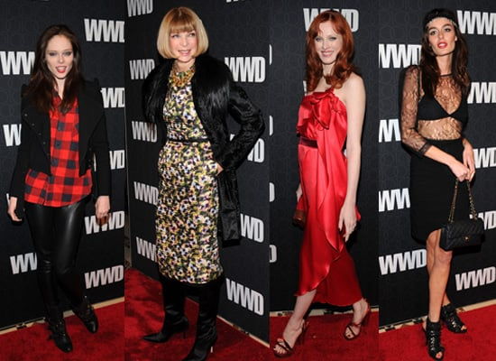 Celebrities come out to play at WWD 100th Birthday Bash, including Mary-Kate and Ashley Olsen, Anna Wintour and Jessica Szohr,