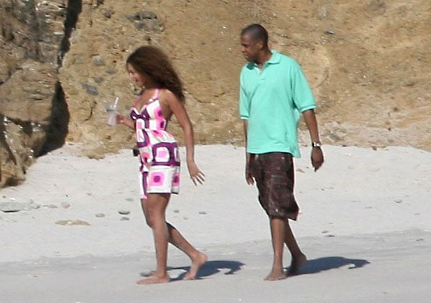 Beyoncé Knowles and Jay-Z strolled in the sand while vacationing in March 2007.