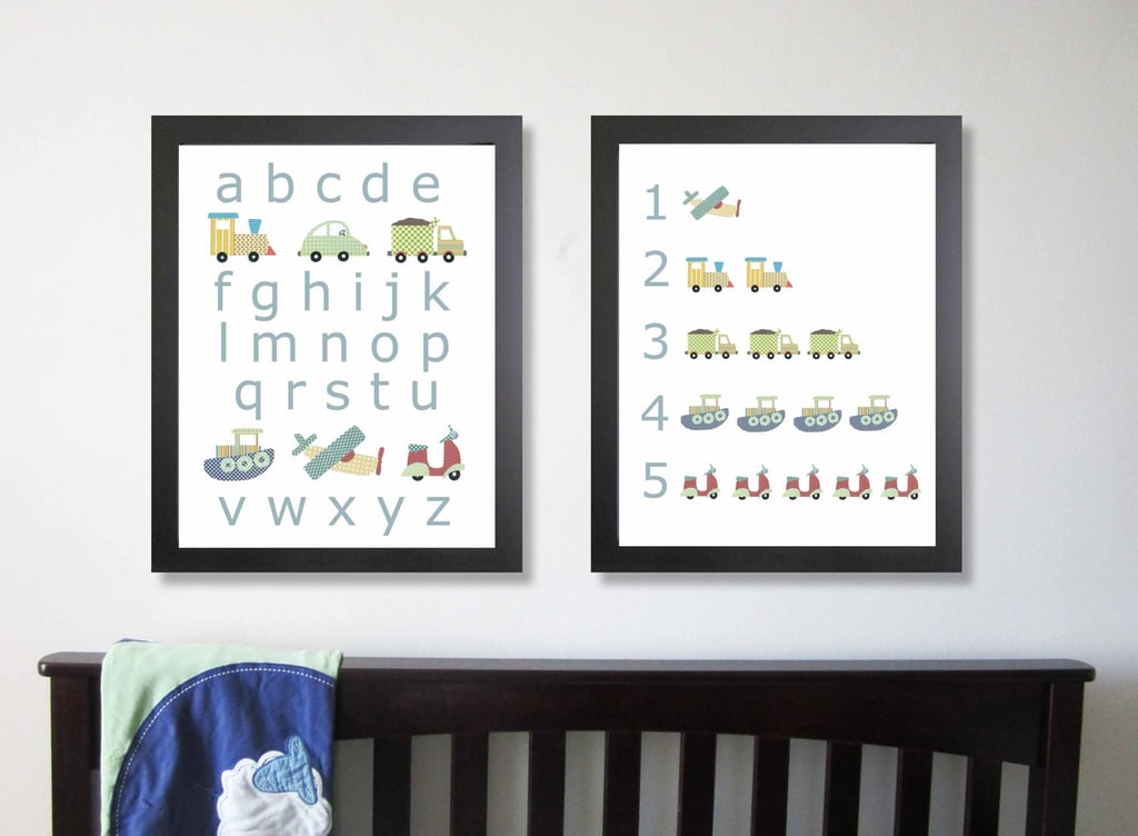 Transportation Alphabet and Number Print Set ($60)