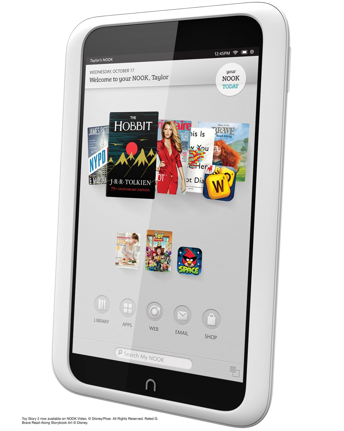 Slightly taller and thicker — The new Nook HD is 7.65 x 5 x 0.43 inches (HWD), versus the Kindle Fire's 7.6 x 5.4 x 0.4 inches.