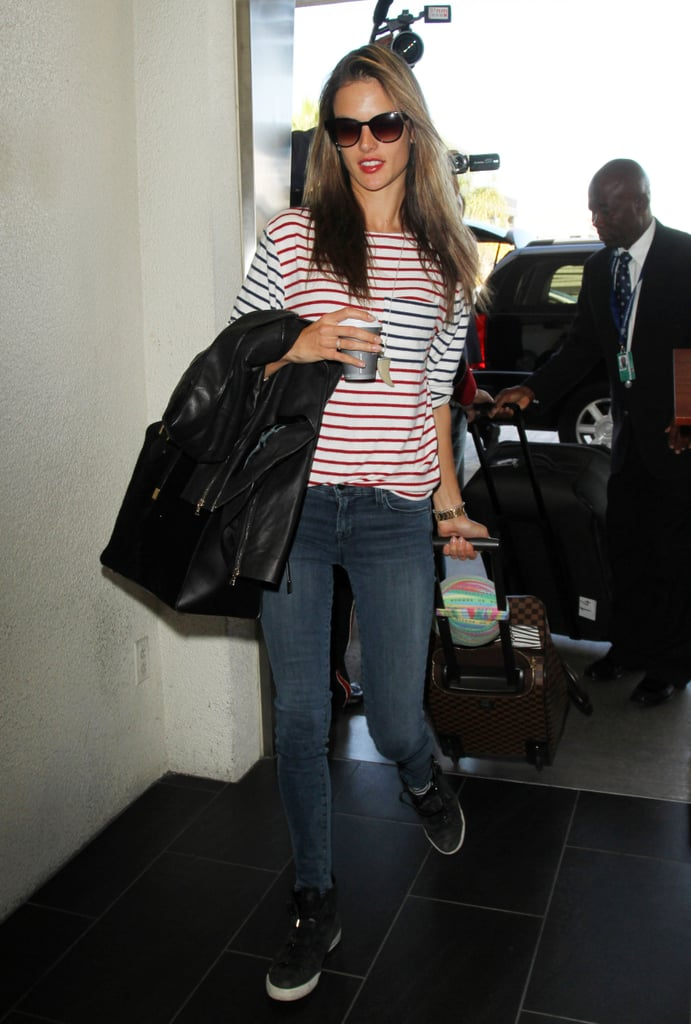 Alessandra Ambrosio knows it's impossible not to look chic in Breton stripes and denim.