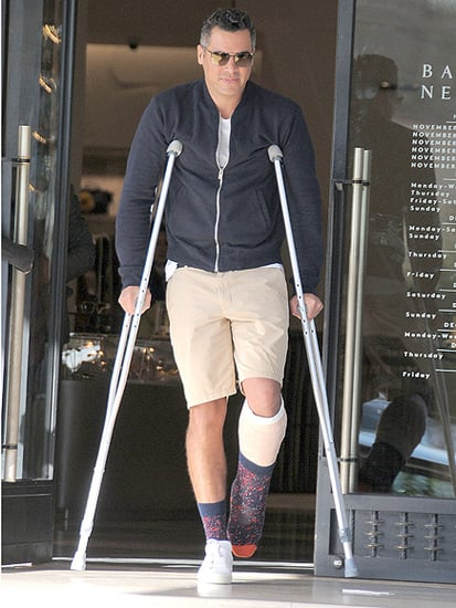 Jessica Alba's Husband, Cash Warren, Steps Out on Crutches with a Torn Achilles Tendon