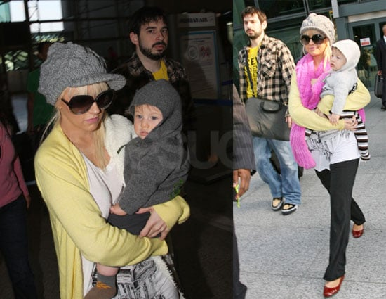 Photos of Christina Aguilera Arriving in London with Jordan Bratman and Max