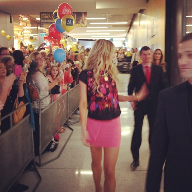 Jennifer Hawkins was pretty in pink at she hit Shellharbour for the opening of a brand-new Myer store. Source: Instagram user jenhawkins_