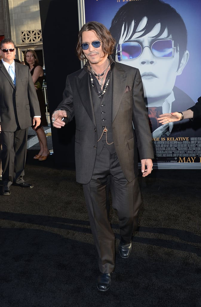Johnny Depp stepped onto the black carpet of the Dark Shadows premiere in LA.